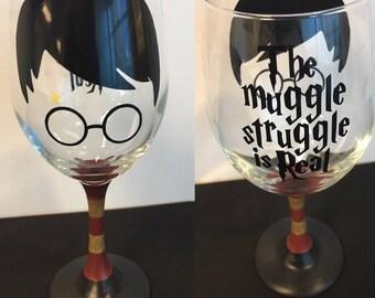 Harry Potter handmade wine glass