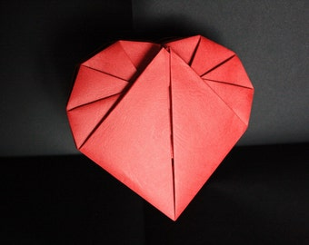 "Box heart origami ""effect leather"""