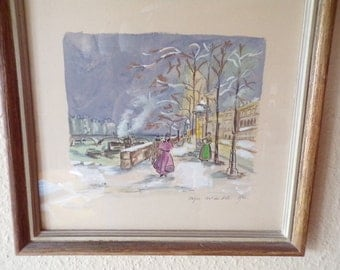 Table framed vintage years 1953