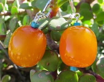 Orange drop & Turquoise Earrings