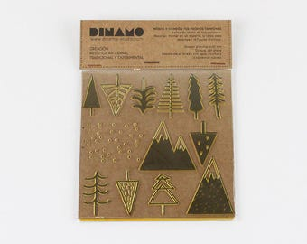 Pack of collectible stamps, stamps to decorate cutout, Stempel, stamp prints, WINTER TREES COLLECTION