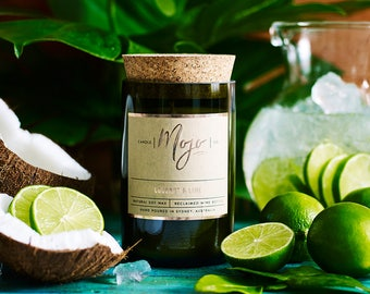 Coconut & Lime - Reclaimed Wine Bottle Soy Candle - Hand Poured