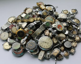 Set of 109 Soviet watches, Soviet watch, ladies watch, Mechanical mens watch, Soviet stopwatch, Vintage womens watch, decor, watchmaker