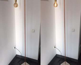 Standing brass lamp floor lamp concrete base Golden fitting with switch and dimmer