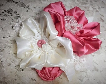 Rose and Ivory Flower Pin, Fabric Flower Corsage, Satin Flower Accessory