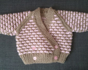 Hand Knitted Double Breasted V-Neck Brick Design Baby Cardigan
