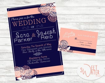 Navy And Coral Wedding Invite, Wedding, Personalized Invitation, Digital  Download, Printed Invite