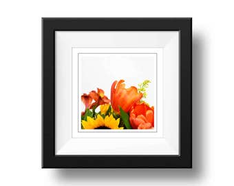 Floral Bouquet Print, Square Wall Art