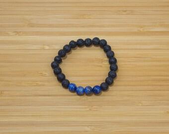 Lapis lazuli Lava Bracelet | lava stone - lapis lazuli - elastic cord