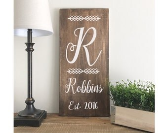 """Last Name and Initial Sign - Housewarming Gift - Wedding Gift - Rustic Sign - date established sign -personalized sign 20""""x9 1/2"""" Sign"""