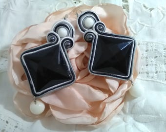 Party earrings. Flamenco earrings. Wedding Earrings. Godmother earrings. Gift, ma'am. Black and white earrings. Valentine's Day gift.