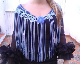 Mantoncillo Flemish Blue lead, crochet fringes, flamenco fashion,