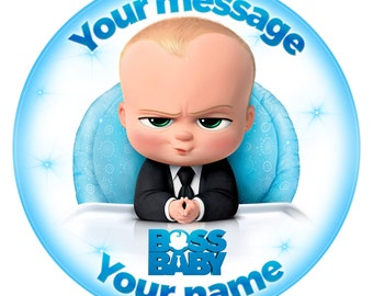 Boss Baby Inspired  Personalised Edible Icing. Birthday Cake Topper Decoration 7.5""