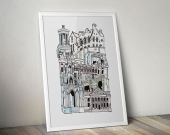 Edinburgh A1 Illustrated Stacking cityscape print