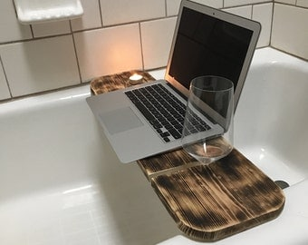 Wooden Wine Bath Platform/Caddy | Fits iPhone, iPad, or Kindle | Can make to fit any item |