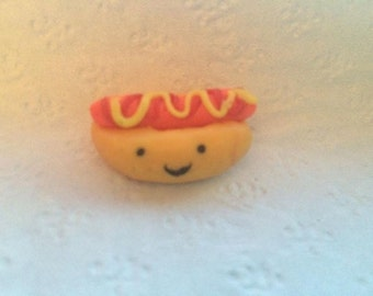 Small Polymer Clay Hot Dog Charm