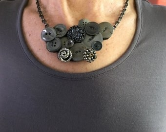 Vintage Gray Button Bib Necklace