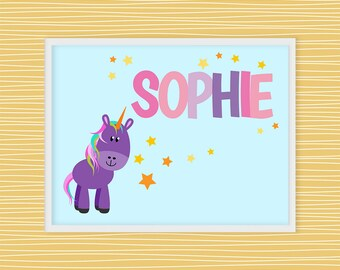 Name sign, Custom Wall Art Print, Personalized Room Sign, Girls Room, Wall Decor, Printable Wall Art, Toddler Room Decor, Unicorn   D34