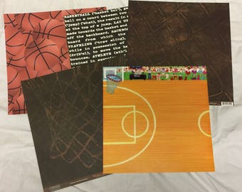5 Basketball Themed Scrapbook Paper Pages, 12 x12
