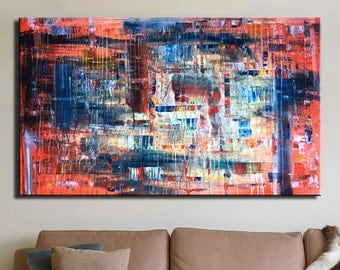 Abstract Wall art Red painting Red abstract Large painting Colorful painting Knife painting Rainbow Bedroom Art Multicolor Blue Yellow Red