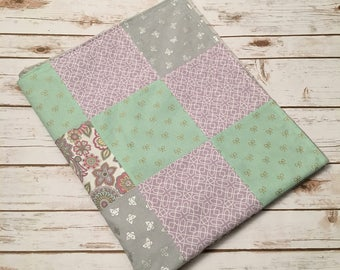 Pink/Purple/Mint/Gray Minky Patchwork Baby Blanket