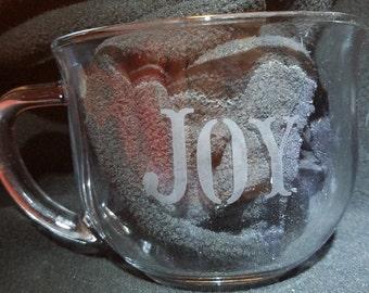"Glass ""Joy"" Mug"
