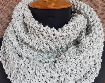 Knit scarf gray scarf circle scarf cotton scarf acril scarf women scarf ready to ship birthday gift for womens gift