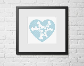 Heart Cog Personalised Printable Artwork