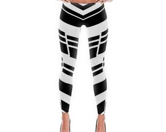 Trendy Black Strips Leggings Made in USA by Trendyz