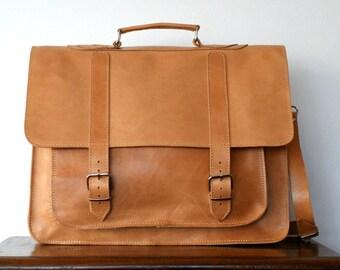 17 inch leather briefcase/ messenger bag/ shoulder bag/ laptop bag/ old school bag/ mens bag/ crossbody bag/ code 10 natural