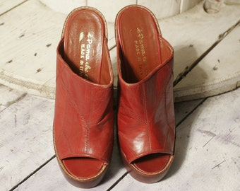 Platform shoes 70 years leather clogs