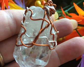 Clear Chrystal Quartz Pendant ,Necklace Wire Wrapped