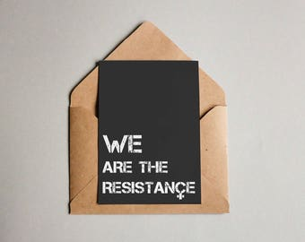 Resistance Postcards | feminist postcards, women's rights, black postcards, activism print, stationery, political quote, typography design