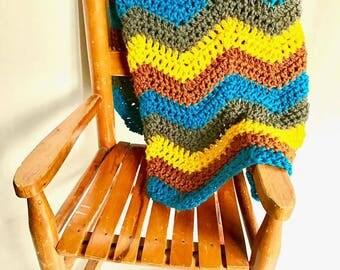 Handmade Bohemian Zigzag Lightweight Crocheted Baby Blanket