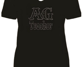 Ag Teacher Rhinestone Ladies Short Sleeve V Neck T Shirt                                                        VMXI