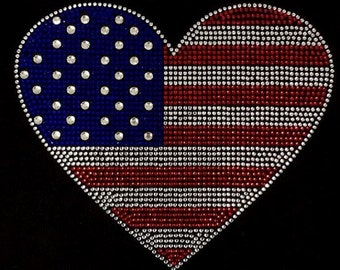 Rhinestone American Flag Heart Lightweight T-Shirt   Or Iron On Transfer                            RAHI