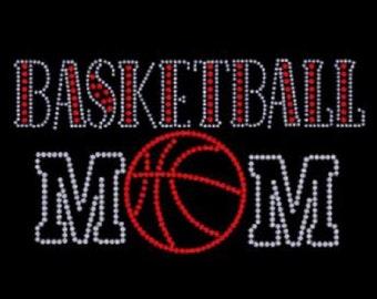 Basketball Mom Rhinestone Iron on T Shirt Design                  0012-N