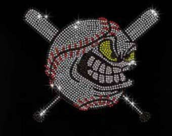 Rhinestone Baseball Cartoon Lightweight T-Shirt    or  DIY Iron On Transfer                9MA2