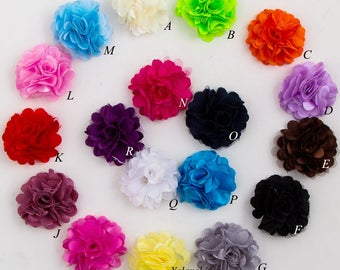 "2"" Mini Tulle Shimmer Chiffon Flowers Flat Back Hair Flower Photo Prop For Headbands  For Baby Girls Hair Clips Accessories"