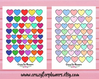 Heart Shape Printable Stickers, Cut Files, Instant Download, Silhouette Cameo, Planner Stickers. Functional Stickers, Digital, Pastel Bright