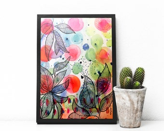 Original Abstract Watercolour and Ink Art Painting Mix Media on Canvas