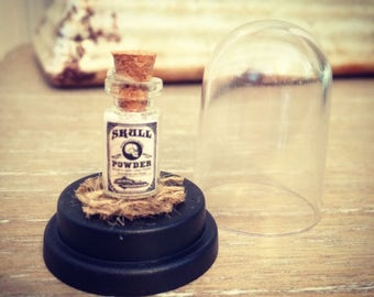 Skull Powder - Miniature Bottle in a Dome - Potions & Spells - Curiosity  - Macabre Oddity - Oddities - Witchcraft - Curio - witch pagan