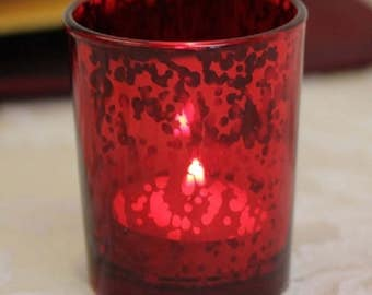 Red Tea Light Holder Mercury Glass Candle Votive Vintage Wedding Decoration