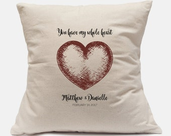 Valentines for Teens Unique Gift Custom Pillow Cover 100% Cotton Canvas Customize with your information 14x14 and 18x18