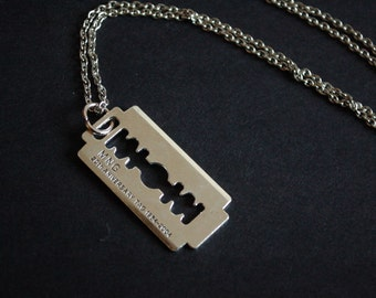 silver tone razor blade necklace