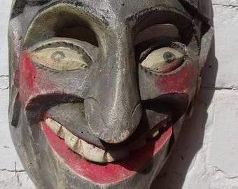 Wooden mask. Mexican folk art. Vintage dance or festival mask of Shepherd character. Mid century mask, hand painted, very collectable.