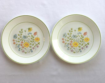 2 Corelle by Corning Meadow Dinner Plates-Pink Blue Yellow Flowers-Green Trim