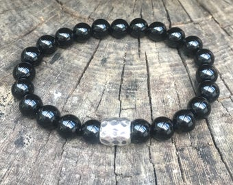 XANNA STONE MEN Bracelet (06) / Onyx and silver/smart casual beading