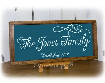 Teal Family Sign, Last Name Wedding Gift, Last Name Anniversary Gift, Family Wood Sign with Hearts, Framed Established Date, Canvas Wood