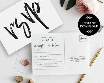 RSVP Postcard Template INSTANT DOWNLOAD, Editable pdf, rsvp Cards, rsvp Postcard, rsvp template, wedding rsvp cards - Harper
